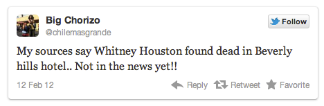 Whitney Houston r.i.p. tweet