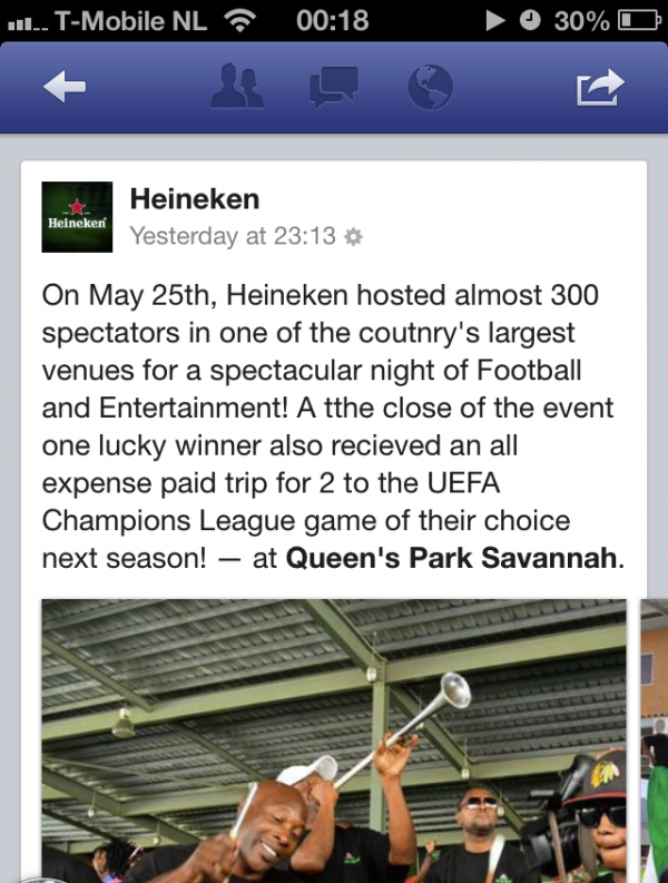 Heineken Facebook Post